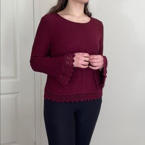 Burgundy Lace-Trimmed Blouse